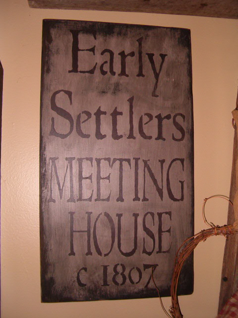 Early Settlers Meeting House sign