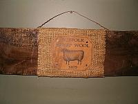 Suffolk Sheep Wool barnwood sign