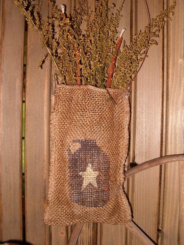 crock burlap sack hanger