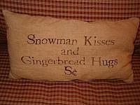 snowman kisses pillow