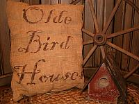 olde birdhouses pillow