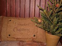 primitive Christmas heirloom pillow
