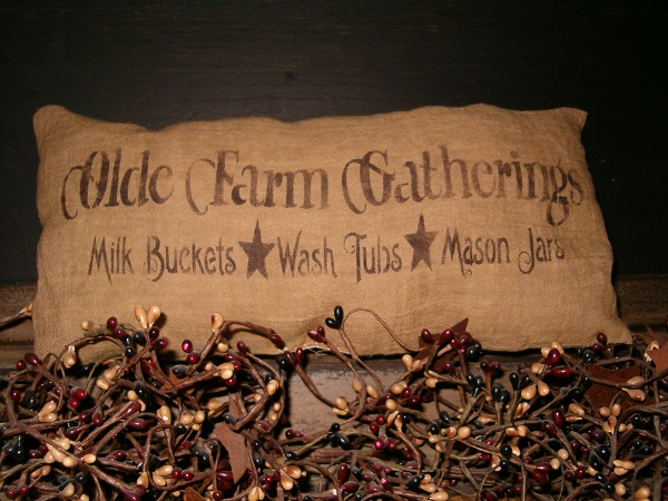 olde farm gatherings pillow