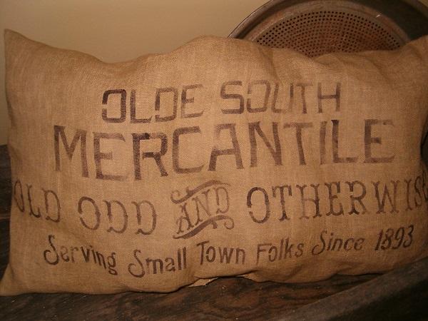 olde south mercantile pillow