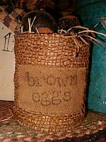 Brown Eggs burlap wrapped can