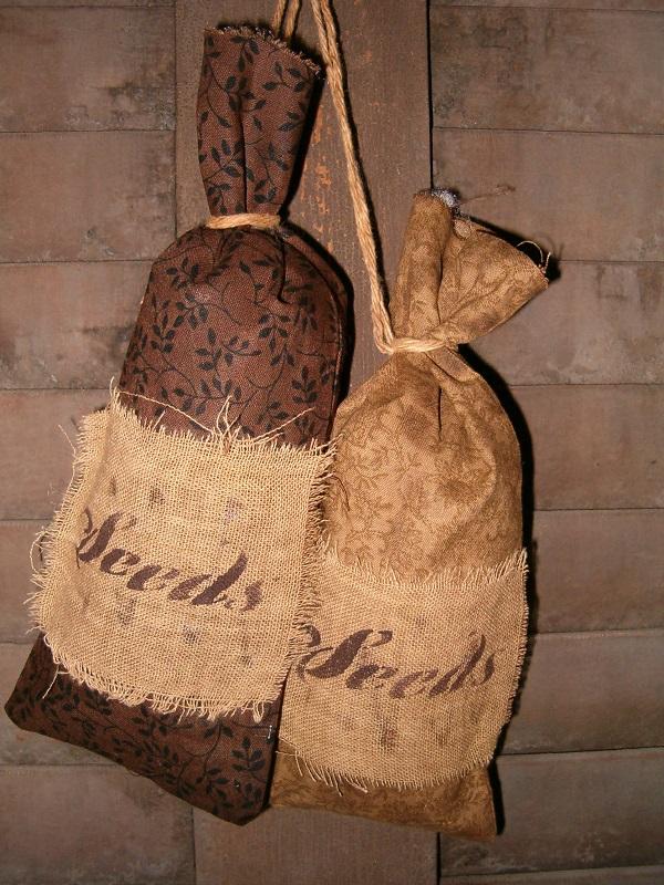 brown and tan prairie seed bags