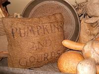 pumpkins and gourds burlap pillow