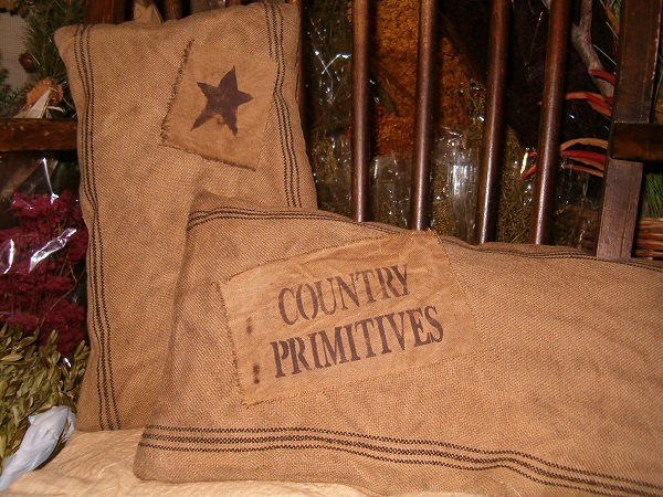 rectangular country primitives or star heirloom pillow