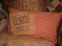 Christmas 1872 red ticking pillow