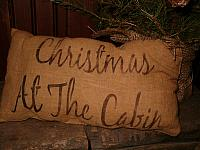 Christmas at the cabin pillow or towel