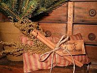 Merry Christmas ticking pillow tuck