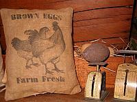 brown eggs farm fresh pillow