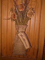 dried sunflower sack hanger