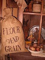 large stuffed flour and grain osnaberg sack