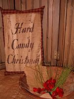 hard candy Christmas homespun pillow