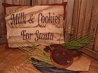 milk and cookies for Santa homespun pillow