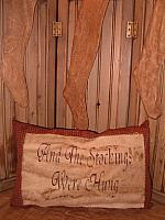 and the stocking were hung homespun pillow