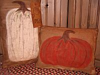 set of two handpainted pumpkin pillows