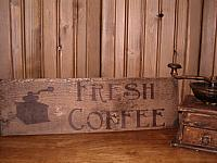 fresh coffee with grinder sign