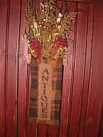 antiques black and red burlap floral hanger