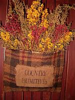country prims black and red burlap floral hanger