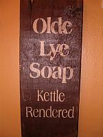 vertical Olde Lye Soap sign
