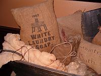 White laundry soap pillow