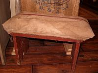 feedsack covered antique bench
