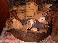 Woolens filled gourd bowl