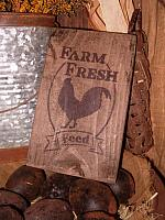small Farm Fresh Feed rooster sign