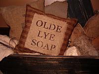 small olde lye soap homespun pillow