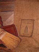 old village shaker brooms stitched patch towel